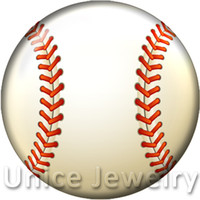 Wholesale Baseball Jewelry Necklaces - AD1301233 12,18,20mm Snap On Charms for Bracelet Necklace Hot Sale DIY Findings Glass Snap Buttons Jewelry Baseball Design noosa