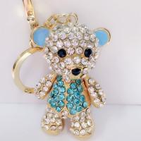 Wholesale crystal bear keychain resale online - New Cute Rhinestones Bear Key Chain Metal Keychain Bag Charm Accessories Crystal Car Key Ring Women Gift Jewelry Styles C155Q
