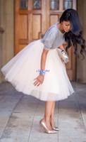 mini etek düğün toptan satış-Tül Diz Boyu Kadınlar Için Elbise Yumuşak Gazlı Bez Sevimli Bouffant Etek Düğün Parti Sıcak Prenses Ucuz Büstü Etekler