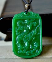 Wholesale Carved Jade Charms - 2015 new Rich Green Chinese Natural Hand-Carved HeTian Jade Dragon pendant