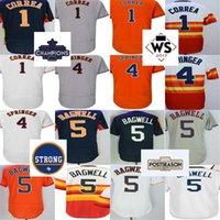 Wholesale Rainbow Jersey - Cheap 2017 Houston Strong WS Champions Mens 4 George Springer 1 Carlos Correa 5 Jeff Bagwell Flex Base Rainbow White Orange Baseball Jerseys
