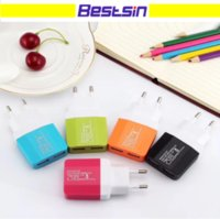 Wholesale colorful adaptor - Colorful US EU Plug USB Wall Chargers V A Adapter Travel Convenient Power Adaptor with double USB Ports For Mobile Phone