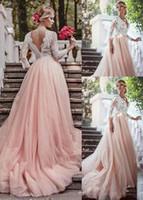 organza saia de comprimento total venda por atacado-2019 A Linha de Blush Vestidos de Noiva Rosa Com 3/4 Mangas Compridas Tule Saia de Renda País Vestido de Noiva Com Decote Em V Vestidos de Noiva Barato