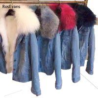 Wholesale Korean Jeans Jacket - Wholesale- RosEvans 2017 Korean Winter Women Faux Fox fur Lined Denim Jeans Thicken Warm Jacket Faux Raccoon Fur Female Jacket Overcoat B78