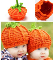 Wholesale Kids Pumpkin Costumes - New Arrival Baby Handmade Pumpkin Hats Crochet Knitted Baby Kids Photo Props Infant Baby Costume Winter Hats Caps