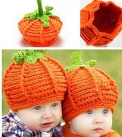 Wholesale Children Pumpkin Costume - New Arrival Baby Handmade Pumpkin Hats Crochet Knitted Baby Kids Photo Props Infant Baby Costume Winter Hats Caps