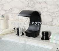 Wholesale Rubbing Oils - Luxury Waterfall 3pcs Oil Rubbed Bronze Bathroom Faucet Dual Handles Basin Mixer Taps 1001#01