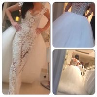 Sheath/Column Reference Images 2015 Spring Summer Two-in-One Wedding Dresses 2015 Sexy Lace Sheath V Neck Beaded Sheer Bridal Gowns with Puffy Detachable Tulle Train 2015 vestidos de novia