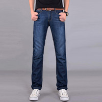 Wholesale Pepe Jeans Men - Wholesale-2015 New Fashion Men's Jeans Simple Water-washed Straight Pants Blue Wholesale Pepe Jeans Factory Pantalones y jeans B080