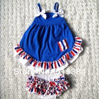 Wholesale Swing Tops Bloomers - Wholesale-4th July autum girls swing back top set wholesale 2015 fashion cloth with matched bloomer two pcs as a set 3sets lot