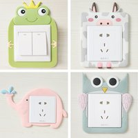 Wholesale Light Switches Wall Sockets - Free Stickers Cartoon Luminous Glue Switch Socket Decorative Sets of Washable Protective Sleeve Five Loaded Switch sticker