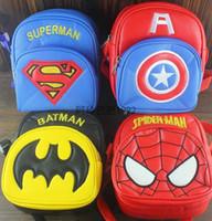 Wholesale Spiderman Party Bag Wholesalers - Free shipping Children Cartoon Avengers Spiderman superman Captain America batman Backpack Girls Boys School Bags Kids Birthday party gift