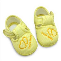 Wholesale Cribs Sales - Wholesale-2015 Hot sale Baby Cotton Shoes First Walkers Lovely Heart Newborn Crib Shoes Soft Sole Toddlers Boys Girls Casual Shoes