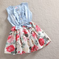Wholesale Kids Denim Cowboy Vest Wholesale - Korean Style Children Leisure Sleeveless Cowboy Dress Girs Cute Ruffle Demin Dresses Kids Lovely Pleated Printing Vest Dressy free shipping