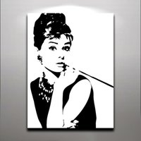 Wholesale Fantastic Paintings - Audrey Hepburn - Fashion Queen Elegant Lady Oil Painting Printed on Canvas Wall Art For Home Hotel Office Fantastic Decor