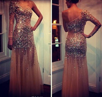 Wholesale Mature Model Sexy - 2015 One Shoulder Long Sleeve Mermaid Illusion Sheer Tulle Beads Crystal Zipper Sparkle Sexy Evening Dress Formal Mature Prom Dresses