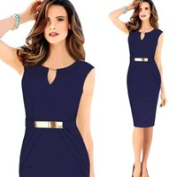 Wholesale Cheap Clothes Stock - 2015 Fashion Women Casual Dresses Sheath High Waist Pencil Dresses for OL Work Suits Slim Elegant Women's Clothing Cheap In Stock
