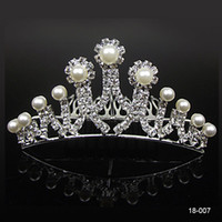Wholesale bridal combs for sale - 18007 Cheap Crowns Popular Beautiful Hair Accessories Comb Crystals Rhinestone Bridal Wedding Party Tiara inch inch