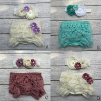 Wholesale Ruffled Bloomers - Baby Lace Ruffled Shorts Blommers Matching Baby Headband Baby Girl Diaper Covers Baby Ruffle Bloomer 1set lot