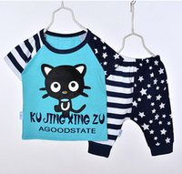 Wholesale Childrens Boy Coats - New Baby Summer Children Boy Suit Childrens Short Sleeve Star Cat T-shirt+Pant 2 Pieces Outfits Free Shipping