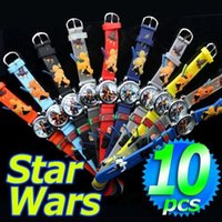 Wholesale Star Wars Watches - 10Pcs Per lot 3D Star Wars Children's Wristwatches Kids Silicone sports Quart Watches For Children Christmas Birthday Gifts free shipping