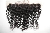 Wholesale Wave Lace Front Closures - 13x4 Lace Front Closure With Baby Hair Free part Middle part Three Part Natural Black Peruvian Deep Wave Human Hair G-EASY