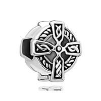 Wholesale Lucky Cross Metal - 10 pcs per lot Religious claddagh Celtic Cross Lucky European Charm Large Hole Metal Slide Bead Fit Pandora Bracelet