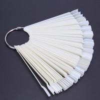 50PCS Transparent Natural Fan Board Display Nail Art Tips False Round Hoop Stick Practice for Polish Gel Showing Tool