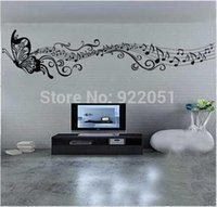 Wholesale Fly Quotes - Free Shipping Flying Butterfly Note Wallpapers Music Decor Decal Art Vinyl Quote Removable Music Note Wall Stickers ZY8121s