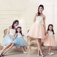 Wholesale High Class Wedding Dresses - High class Best quality Fashion Unique Silk Mesh mother daughter dress wedding party dress free shipping