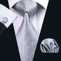 boutons de manchette formels achat en gros de-Mens cravate en soie gris mouchoir boutons de manchette Set jacquard tissé cravate ensemble de travail cravate travail travail réunion formelle mariage loisirs N-0484