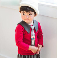 Wholesale Boys Tie Tee - Infants cute T-shirts Baby boys cotton rudolph tie red tees Autumn Toddler kids long sleeve lapel tops Baby lovely clothing C2316