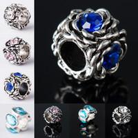 Wholesale fashion bracelets online - Promotion big hole BeadsJewelry Bracelet for Women Mini Alloy Rhinestone Beads for Bracelets Fashion Jewelry Making Beads Online 085