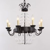 Luzes pendentes Europe Country LED Light Candles Candelabros e teto Black Crystal Chandelier for Bedroom Black Wrought Iron Chandelier