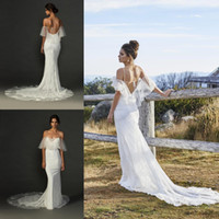 Wholesale wedding dress bolero sheer lace - Sexy Open Back Mermaid Hippie Wedding Dresses with Spaghetti Straps Sheer Bolero Off the Shoulder Boho Wedding Gowns Beach Bridal Dress