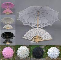 Wholesale Handmade Ivory Lace Fan - full lace Parasol and Fan Victorian Design Umbrella wedding Bridal battenburg handmade embroidery 4 color u pick H106S