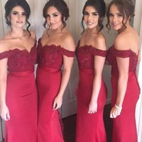 Wholesale Lace Bridemaid Gowns - Hot Sale Bridesmaids Dresses Dark Red Off the Shoulder Mermaid Bridemaid Dress Beaded Lace Appliques Maid of Honor Gowns for Wedding