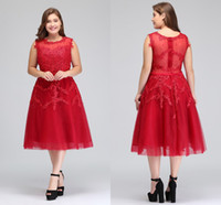 diz boyu kırmızı resmi elbise toptan satış-2018 Gerçek Görüntü Artı Boyutu Kırmızı Dantel Kısa Kokteyl Elbiseleri Tül Dantel Boncuklu Diz Boyu Bir Çizgi Örgün Parti Abiye CPS298