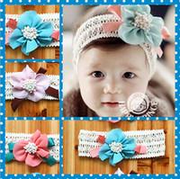 laços de cabelo grande laço venda por atacado-Bebê bonito Acessórios Para o Cabelo Infantil Do Bebê Lace Big Flower Bow Princesa Bebês Banda de Cabelo Da Menina Headband Do Bebê Banda Cabeça Crianças 10 pcs