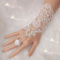 Wholesale Short Satin Fingerless Wedding Gloves - 2015 New Fashion Aimani Beautiful short Lace Satin Bridal Gloves Long Fingers Wedding Bridal Opera Above Elbow Wedding Accessories