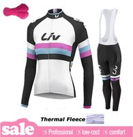 Wholesale Cycling Pants Jersey Set - 2015 Liv women winter thermal Fleece Ropa Ciclismo hombre long sleeve Pro cycling jersey Bycle bib long pants Sets winter cycling clothing