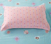 Wholesale Pink Striped Bedding - Wholesale-JJ460 2015 New Rectangle Solid Color Pillow Case Cotton Cover Striped Pillowcase Bed~1Pair