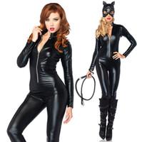 borracha máscara zipper venda por atacado-2015 de alta qualidade completa capa de látex Catsuit traje, Womens Black PVC borracha de couro Catsuit Zipper Sexy trajes com máscara
