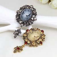 Wholesale Cheap Cameos - Stunning Diamante Retro Brooch Graceful Lady Cameo Pins Brooches Hot Selling Top Quality Factory Cheap Broach Scarf Pins Gift Brooches