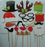 Wholesale mask hats online - New Arrive DIY Photo Booth Props Mustache Lip Hat Antler Gift Stick Christmas Party