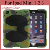Wholesale military ipad mini - Tablet PC Hybrid Hard Cover for iPad Mini mini 2 with stand shock dust proof military duty style case colorful tablet cover PCC003