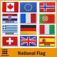 nationale diy großhandel-Vereinigte Staaten Vereinigtes Königreich Eisen auf Flecken Nationalflagge annähen PATCH ARMY MORALE MILITÄR gestickte Applikationen DIY Zubehör