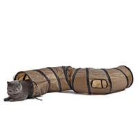 agujero de juguete al por mayor-Nuevo Creative Sigmate Funny Pet Tunnel Brown Plegable 1 Holes Cat Toy Bulk Toys Pet Play Tunnel Precio de fábrica directo Pet Supplies