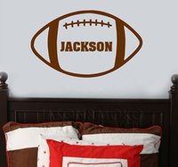 Wholesale Boys Name Wall Decals - Wholesale-Vinyl Wall Decal Art Sticker - Boy Football Name Wall Decal Sports Wall Sticker, Kids Wall Art 36*60CM Free shipping