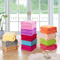 Wholesale Double Faced Fleece Fabric - 10PCS 12 different colors sofa air bedding Throw solid color and double faced travel flannel blanket LA32-3